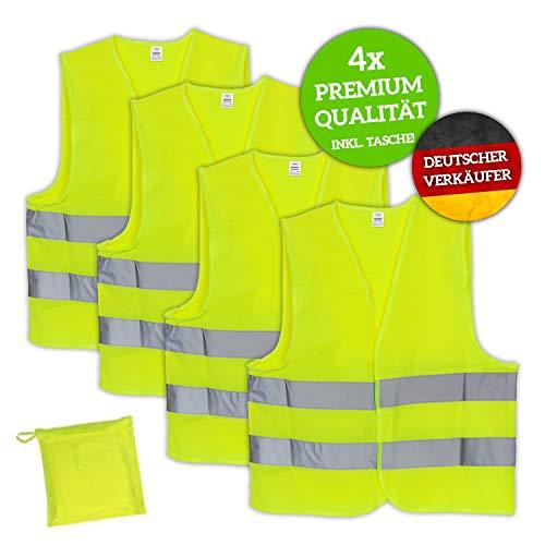 Huckleberry Home® Premium Warnweste KFZ 4er Set mit Tasche - EN ISO 20471 - Neon Gelb reflektierende Auto Sicherheitsweste für Pannen - Für Erwachsene