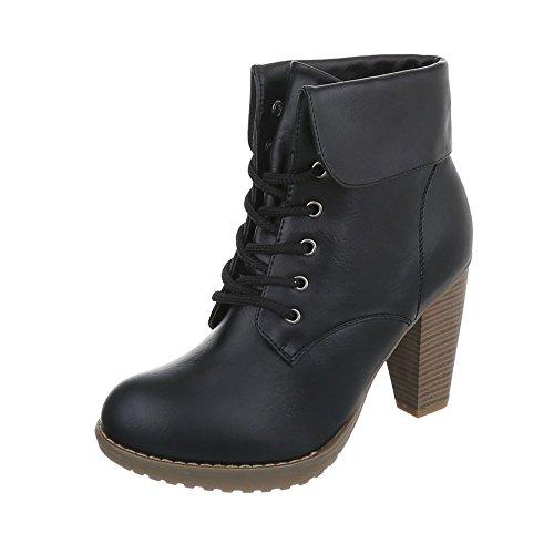 Ital-Design High Heel Stiefeletten Damen-Schuhe Schlupfstiefel Pump High Heels Schnürsenkel Stiefeletten Schwarz, Gr 39, Ka13-01H-