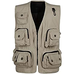 Panegy Hombres Chaleco Exterior de Algodón con Multibolsillos Posterior Removible Vest para Pesca Fotografía Beige - Talla XL