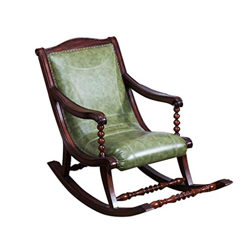HYYTY-Y Silla Mecedora Individual para sofá, butaca de Cuero, sillón Vintage de Madera Maciza 711-YY (Color : Green)