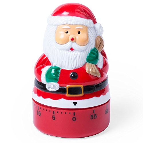 Küche 60 Minute Egg Timer (eBuyGB Festive 60Minute Vater Weihnachten Egg Timer, rot, 10.59X 6,2x 6,2cm)