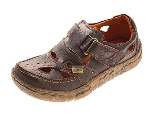 TMA Damen Comfort Leder Sandaletten 7008 Schuhe Braun Halbschuhe Sandalen Gr. 37