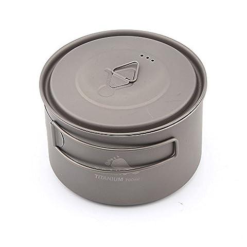 Toaks Pot-700-d115-l ultraléger Camping Pot de titane Épaisseur de 0,3mm en titane Tasse avec couvercle 700ml