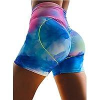 DDL Impreso pantalón Corto Deportivo Yoga, Estiramiento de Running de Cintura Alta elevación Caderas Caderas Tight Pantalones Cortos para absorción de Humedad,XL
