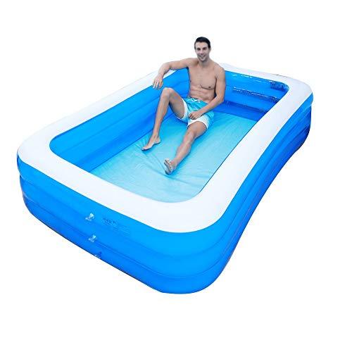 GYZ Aufblasbare Badewanne, PVC für Erwachsene, tragbare, übergroße Badewanne, Haushaltsdoppelwanne, elektrische Luftpumpe, rutschfeste, zusammenklappbare Aufbewahrungsbox, blau Aufblasbarer Whirlpool