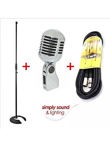 micrófono Retro Vintage Plateado con Soporte de micrófono y 6m de Cable