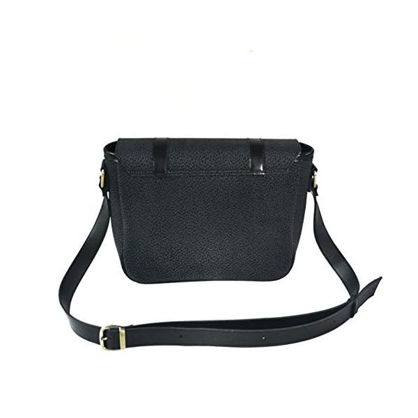 Handbag with strap; black leather; eco-friendly - handmade-bags