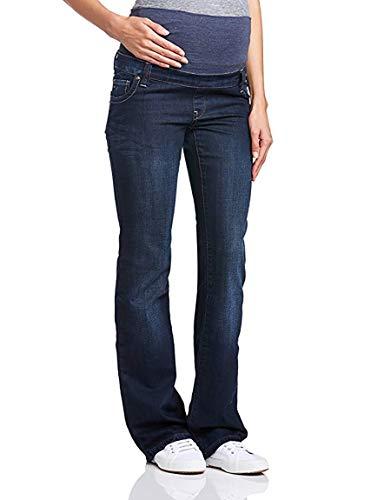 Dark Denim Flare Jeans (Love2Wait Damen Schwangerschaftsjeans Umstandshose Five-Pocket-Jeans Judy elastisch sehr tiefer Bund bequemer Schnitt Flare-Dark wash blau)