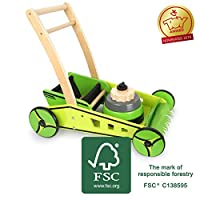 Small Foot 11292 Walker Lawnmower Wooden FSC 100% Certified Active Toy Toy Multi-Coloured