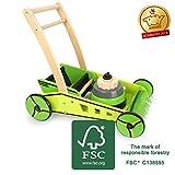 small Foot 11292 Lauflernwagen Rasenmäher, aus Holz, FSC 100%-Zertifiziert, aktives Rollenspiel Spielzeug, Mehrfarbig