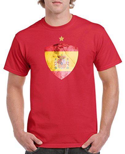 Comedy Shirts - Spanien Trikot - Wappen: Groß - Wunsch - Herren T-Shirt - Rot / Gelb Gr. S (Fußball-herren Spanien V-neck)
