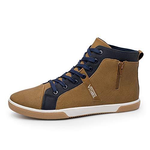 L-DiscountStore Scarpe Sportive Piatte Moda Uomo Sneakers Alte con Cerniera