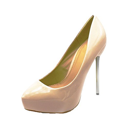 Nude Patent high heel court shoes with metal stiletto heel Patent Metal Heels Stiletto Pump