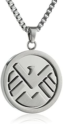 Marvel Comics Unisex Shield Logo Stainless Steel Chain Pendant Necklace, 24