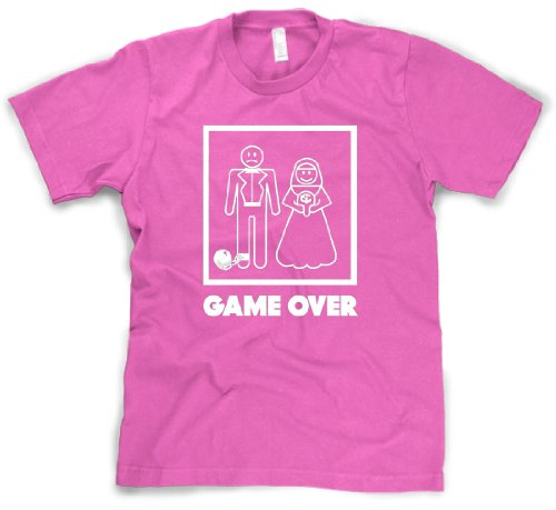 Crazy Dog Tshirts - Mens Game Over T Shirt Funny Wedding T Shirts Humor Bachelor Party Novelty Tees (Pink) - S - Camiseta Divertidas