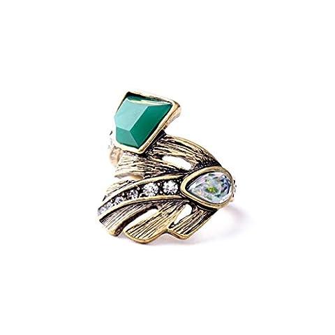 LARESDOMI Vintage Gold-tone Crystal Incrusted Simulated Jade Opal Retro Palm Leaf Elegant Cocktail Ring