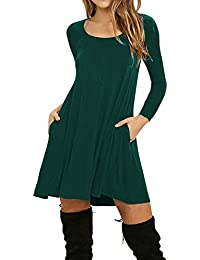 b76a011ffe0cea neuda Damen Kleider Langarm Casual O-Neck A Line Minikleid lose T Shirt  Kleid
