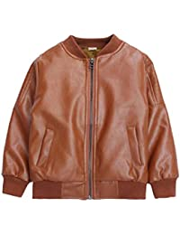 5761358a8 Suncaya Children's Motorcycle Leather Coat Boys Faux PU Leather Short Jacket  Outwear Cool Coat