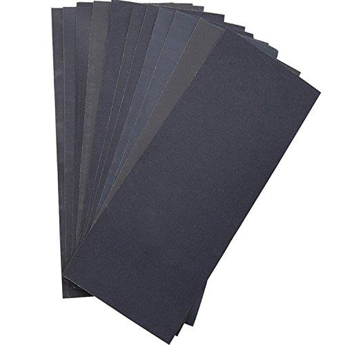 800 Glas (Schleifmittel Trocken-nass Wasserdichte Schleifpapier Assorted Blätter Körnung von 400 / 600 / 800 / 1000 / 1200 / 1500 für Möbel , Hobbys und Heimwerken,12 Stück)