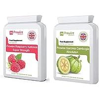 Garcinia Cambogia 500mg 60 Kapseln + Himbeere 600mg (60 Kapseln) - Premium Qualität - Fettstoffwechsel, Gewichtsmanagement, Fettverbrennung, natürliche Inhaltsstoffe, UK hergestellt, Geeignet für Vegetarier und Veganer, GMP
