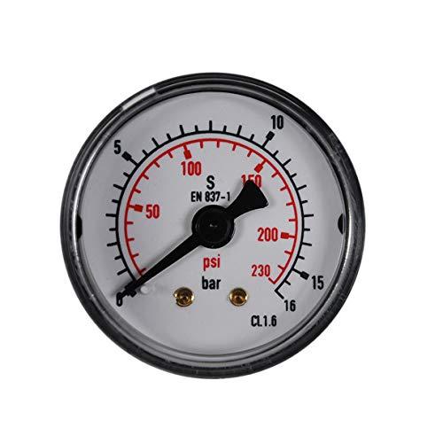 """HELO '175330-2' Druckluft Manometer 0-16 bar + psi Messer, 40 mm Ø, 1/8"""" Anschlussgewinde hinten für gasförmige und flüssige Medien"""