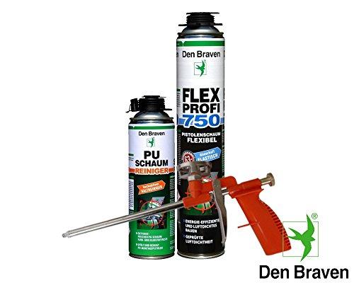 Den Braven Spar Kombi Set 1 x Flex Profi Fensterschaum 750ml B2-Qualität inkl. PU Reiniger + Schaumpistole Compact - luftdichtes Verfüllen, Abdichten von Fugen, Hoch- und Tiefbau, hocheffektiv ,energieeffizient, dauerhaft elastisch