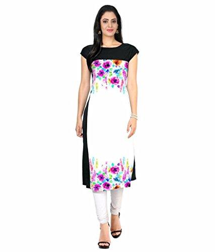 Velentino Trend Women Multicolor Floral Printed Crepe Kurtis VAT124 Medium