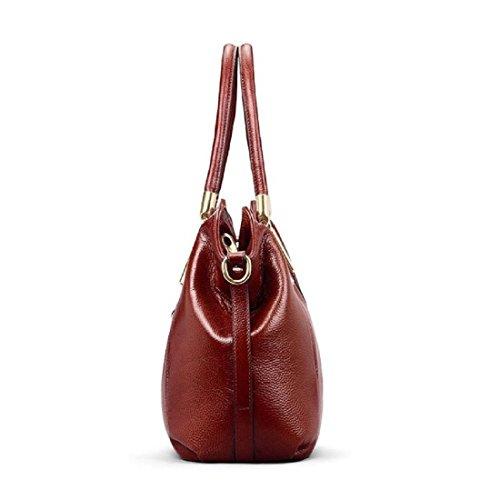 Hermiona Women Genuine Leather Shoulder Bag Top-handle Tote Bag Wine red