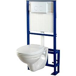 PlaneteBain Pack WC Suspendu Sol + Cuvette WC NF