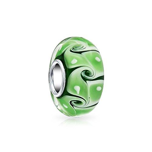Grün Weiß Dot Wave Swirl Murano Glas Bead Charms Silber Distanzstück Passt Europäischen Charm Armbänd Für Damen - Bling Dots