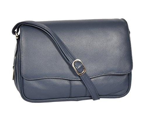 A1 FASHION GOODS Marine Leder Umhängetasche Damen Klassisch Klappe über Messenger Beiläufig Handtasche - Ada -