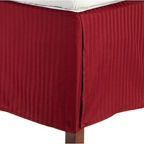 Dreamz Étui Parure de lit lit lit en coton égyptien Ultra doux 350 fils Finition élégante boîte 1 Jupe Plissé Lit (Drop Longueur: 53,3 cm), double, petit double, rouge à rayures b27cec