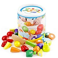 Wooden Kitchen Toys Cutting Fruits Vegetables Colorful Pretend Play Baby Puzzle Toys Children Early Educational Magic Stickers