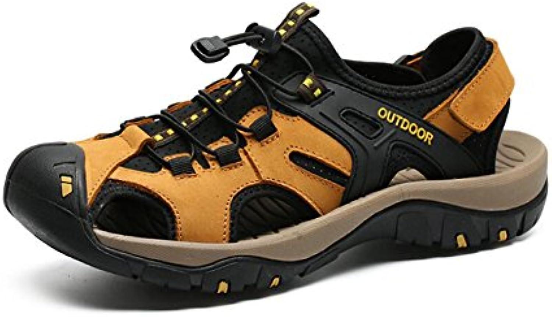 Sandalias de Playa de Cuero de Verano para Hombres Sandalias de Senderismo/Trekking para Deportes al Aire Libre...