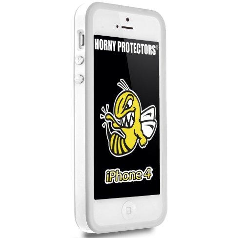 Horny Protectors Bumper für Apple iPhone 4 rosa/weiß mit Metallbutton weiß/grau