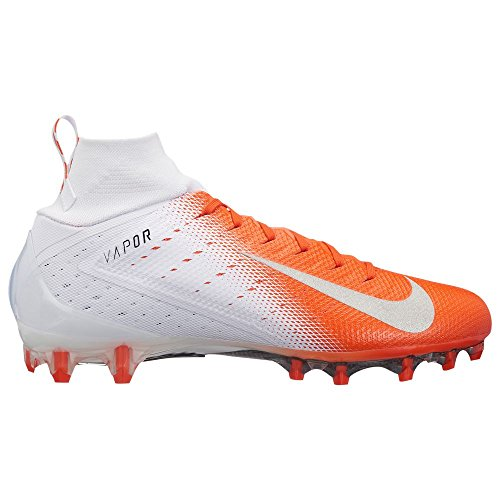 NIKE Men's Vapor Untouchable 3 Pro Football Cleats (16, White/Silver/Orange) (Orange Und White Football Cleats)