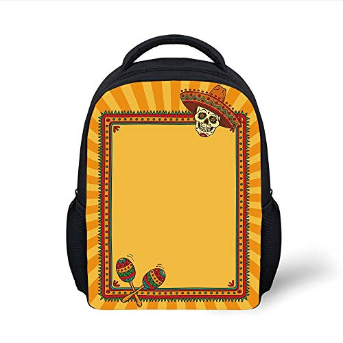 Kids School Backpack Fiesta,Frame Pattern with Skull Sombrero and Maracas Mexican Elements Geometric,Marigold Red Green Plain Bookbag Travel Daypack