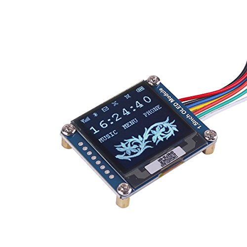 MakerHawk I2C OLED Display Module 1 5inch OLED Module with 128x128 Pixels,  16-bit Grey Level and Internal Controller, with SPI/I2C interface, DC 3 3V/