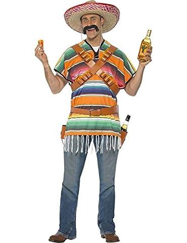 Mexikaner Wildwest Poncho Tequila Kostüm orange blau grün