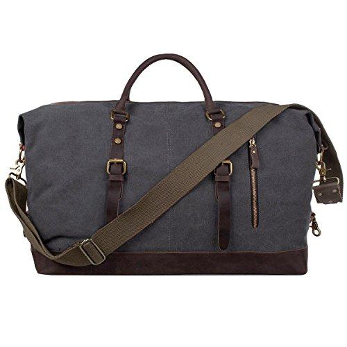 PIMITI Reisetasche Segeltuch Größere Version Vintage Segeltuch Canvas Leder Unisex Handgepäck Sporttasche für Reise am Wochenend Urlaub 58 Liter Aktualisiert (Dunkel Grau)