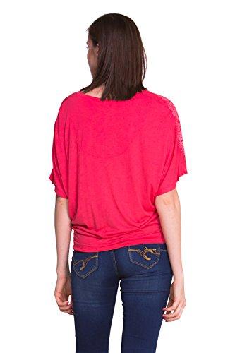 Desigual Croacia - T-shirt - Empire - Imprimé - Col V - Manches courtes - Femme Rose (Geranium)