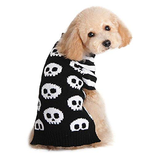 DELIFUR Pet Sweaters Skeleton Sweater Skull Black White Sweater the Cat Dog Clothes Pet Clothing Little Puppy Dog Sweaters