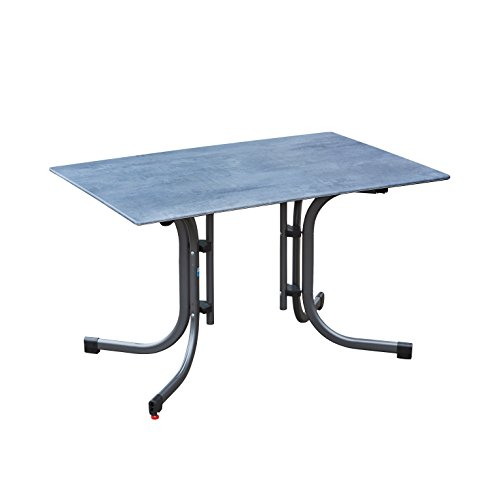 greemotion Table de jardin pliante Laos 120 x 80 cm – Table salon de jardin 4 personnes – Table de jardin bistrot grise – Table extérieur design inoxydable – Table escamotable de jardin
