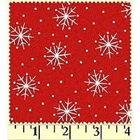 Fat Quarter di Natale con fiocchi di neve, in cotone, tessuto di supporto per Quilting e fiori, colore: Rosso