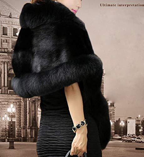 Lys abbigliamento donna pelliccia artificiale spessa avvolgere scialle scialle caldo sciarpa da sposa di eco-pelliccia da sposa scialle giacca invernale vestito da sposa,c