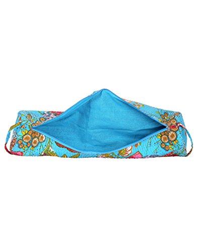 Attraente cotone Sling Bag Ricamato Elephant per le donne By Rajrang Azure Blue & Brown