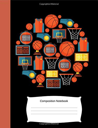 Composition Notebook: Kids/Children Basketball Lover/Fan/Player Blank Exercise Book (College Lined/Ruled, 100 Pages, 7.44x9.69) (Cool Boys, Girls, Student, Teacher, Coaches Notepad/Writing Journal) por ColorPop Notebooks