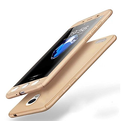 Dream2Cool 360 Degree iPaky Style Full Body Protection Front & Back & Tempered Glass Case Cover for Vivo Y21L (Gold)