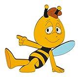 Unbekannt Türschild / Wandbild / Wandtattoo - Willi sitzt / die Biene Maja - aus Holz - selbstklebend - Kinderzimmer Deko Bilder / Aufkleber Wandsticker Wanddeko