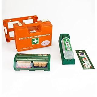 FLEXEO-Erste-Hilfe-Koffer-Set DIN 13 157 (inkl. gefülltem Salvequick Pflasterspender und Cederroth Augenspülstation)